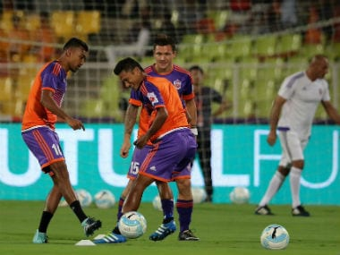 FC Pune City players involved in a training session. ISL