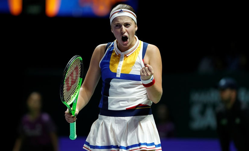 Tennis - WTA Tour Finals - Singapore Indoor Stadium, Singapore - October 22, 2017 Latvia's Jelena Ostapenko reacts during her group stage match with Spain's Garbine Muguruza REUTERS/Edgar Su - RC1F1044C470