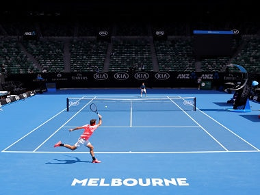 Tennis - Australian Open - Melbourne Park, Melbourne, Australia, January 11, 2018. Switzerland's Roger Federer hits a shot during a practice session with Belgium's David Goffin on Rod Laver Arena ahead of the Australian Open tennis tournament. REUTERS/David Gray - RC1464CE9B10