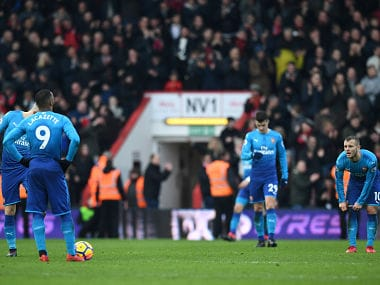 """Soccer Football - Premier League - AFC Bournemouth vs Arsenal - Vitality Stadium, Bournemouth, Britain - January 14, 2018 Arsenal's Jack Wilshere looks dejected after Bournemouth's Jordon Ibe scores their second goal REUTERS/Dylan Martinez EDITORIAL USE ONLY. No use with unauthorized audio, video, data, fixture lists, club/league logos or """"live"""" services. Online in-match use limited to 75 images, no video emulation. No use in betting, games or single club/league/player publications. Please contact your account representative for further details. - RC18884F1FE0"""