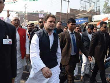 Rahul Gandhi at a road show in Amethi. Twitter@INCIndia