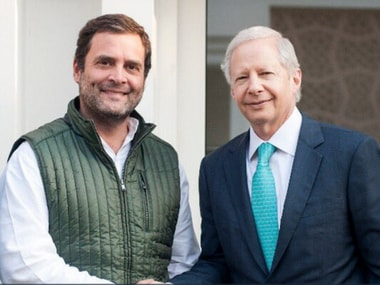 Congress President Rahul Gandhi with US ambassador to India Kevin Juster in New Delhi on Thursday. Twitter@USAmbIndia