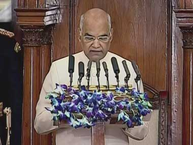 President Ram Nath Kovind speaks on the first day of Budget Session, in New Delhi. PTI