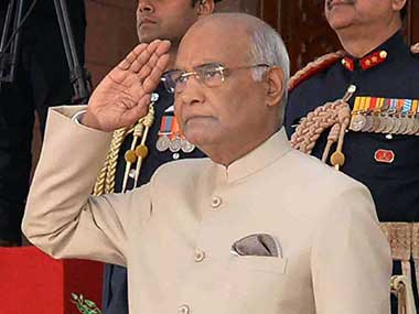 President Ram Nath Kovind offers salute before he leaves Rashtrapati Bhavan for Parliament to address the first day of Budget Session in New Delhi. PTI