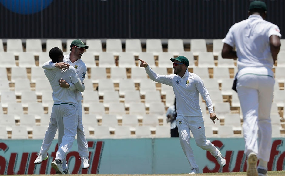 South Africa's AB de Villiers celebrates took a spectacular catch to dismiss India's last recognised batsman Rohit Sharma for 47. AP