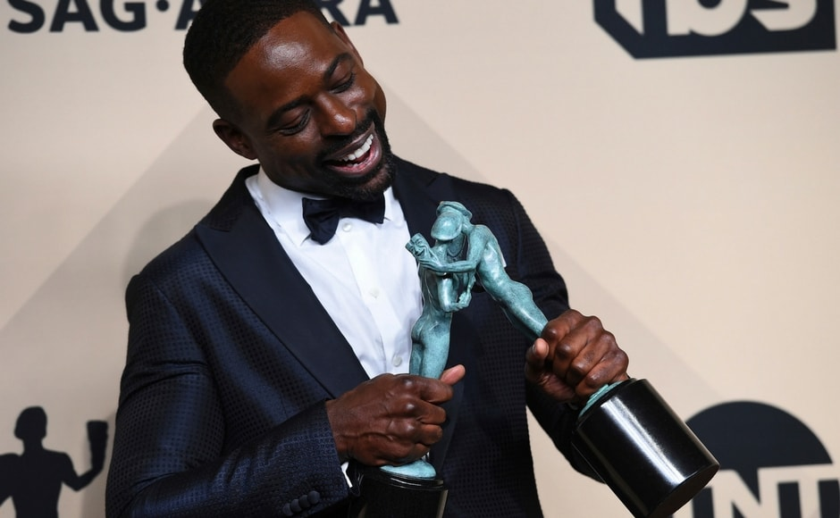 Sterling K. Brown, winner of best actor in a drama series, and outstanding performance by an ensemble in a drama series for This Is Us, at the 24th annual Screen Actors Guild Awards, in Los Angeles on Sunday, 21 January, 2018. AP/Jordan Strauss