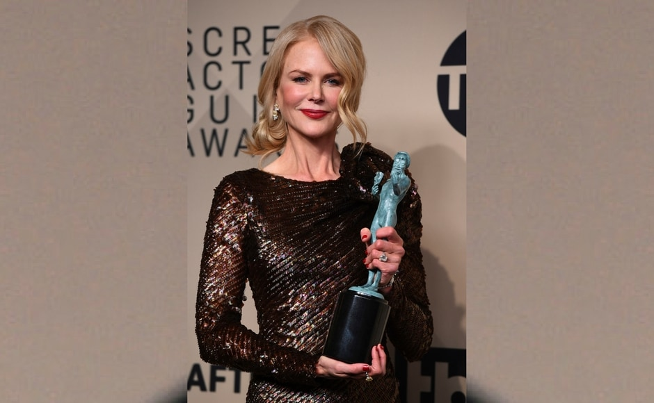 Nicole Kidman, winner of best performance by a female actor in a television movie or limited series for Big Little Lies, poses at the 24th annual Screen Actors Guild Awards. AP/Jordan Strauss