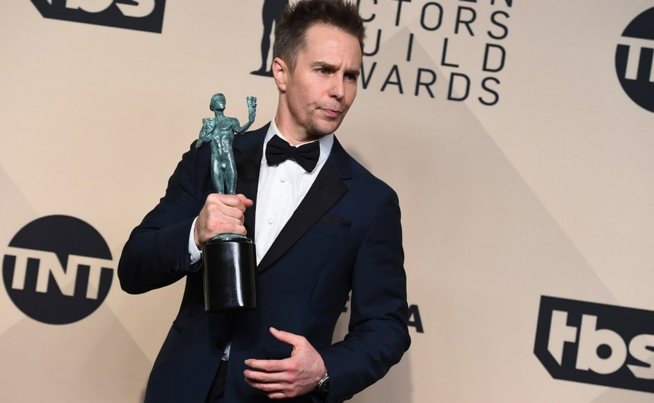Sam Rockwell, winner of the best male actor in a supporting role for Three Billboards Outside Ebbing, Missouri, poses at the 24th annual Screen Actors Guild Awards. AP/Jordan Strauss