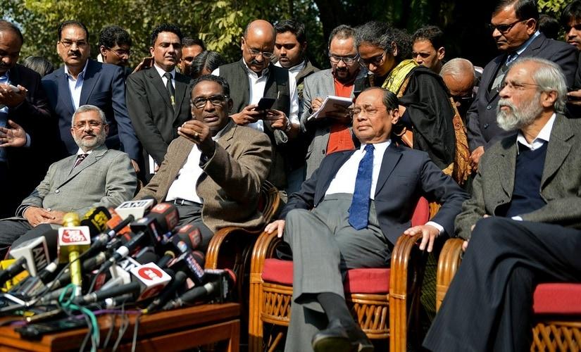 (L-R) Justices Kurian Joseph, Jasti Chelameswar, Ranjan Gogoi    and Madan Lokur address the media at a news conference in New Delhi. Reuters