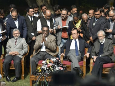 The press conference held by the Supreme Court judges. PTI