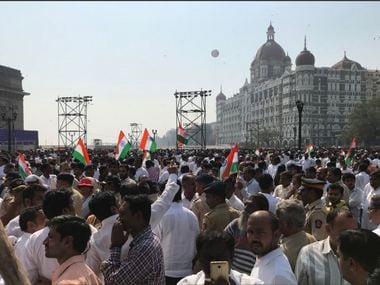 People gather at Gateway of India, Mumbai for Save Constitution march. Twitter/ @waglenikhil Following Following @waglenikhil