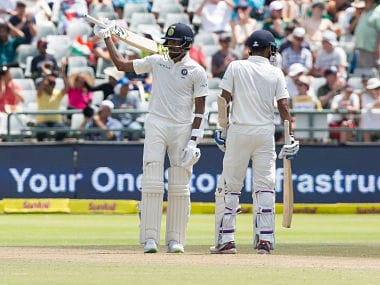 Indian batsman Hardik Pandya scores fifty on the second day of the first Test between South Africa and India at Newlands Stadium, in Cape Town, South Africa, Saturday, Jan. 6, 2018. (AP Photo/Halden Krog)