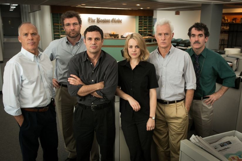 """This photo provided by Open Road Films shows, Michael Keaton, from left, as Walter """"Robby"""" Robinson, Liev Schreiber as Marty Baron, Mark Ruffalo as Michael Rezendes, Rachel McAdams, as Sacha Pfeiffer, John Slattery as Ben Bradlee Jr., and Brian d'Arcy James as Matt Carroll, in a scene from the film, """"Spotlight."""" The film is among the 10 nominees for the Producers Guild Awards, which were announced Tuesday, Jan. 5, 2016. (Kerry Hayes/Open Road Films via AP)"""