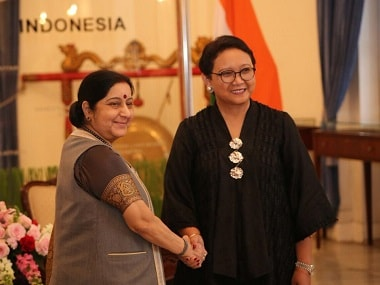External affairs minister Sushma Swaraj with Indonesia's foreign minister. Twitter @MEAIndia