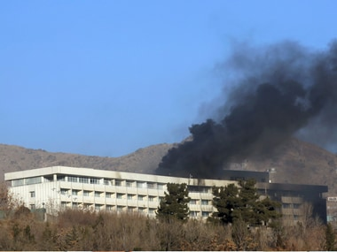Burn damage can be seen on the exterior of the Intercontinental Hotel after a deadly attack in Kabul, Afghanistan, Sunday. AP