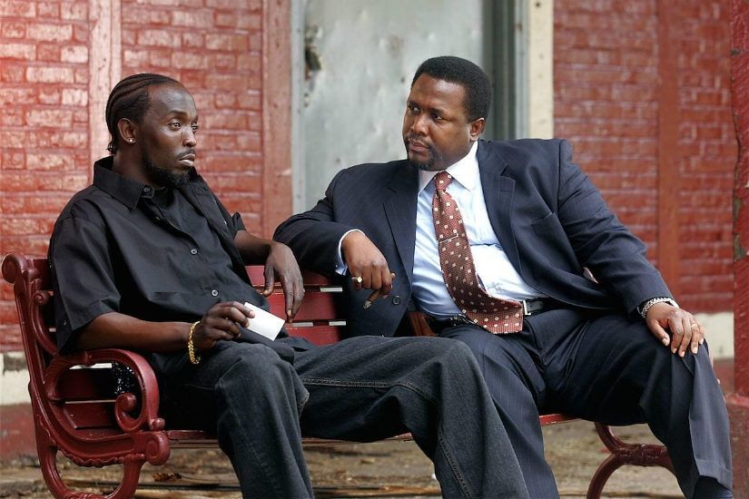 Omar Little (Michael K Williams) and Bunk Moreland (Wendell Pierce) in a scene from The Wire. HBO