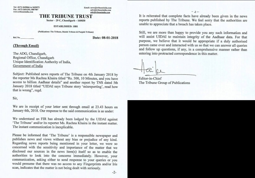 The letter The Tribune sent to UIDAI. Image courtesy: 101Reporters