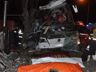 Eleven people were killed, 46 injured in the bus accident in Turkey. Twitter @dhainternet