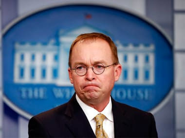 Director of the Office of Management and Budget Mick Mulvaney listens to a question during a press briefing. AP