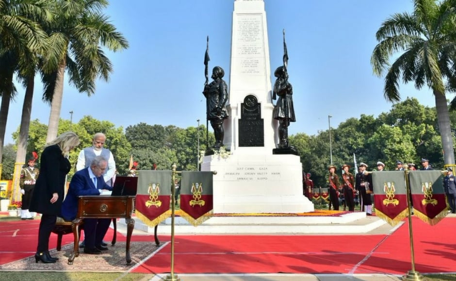 The two leaders attended a solemn ceremony at the Teen Murti Memorial in New Delhi to mark the formal renaming of Teen Murti Chowk as Teen Murti Haifa Chowk. Twitter@MEAIndia