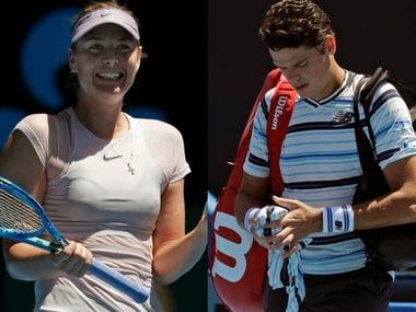 Maria Sharapova got the best of Tatjana Maria while Milos Raonic was beaten by Lucas Lacko in four sets. AP