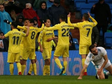 Villarreal's Pablo Fornals celebrates scoring their first goal with teammates. Reuters
