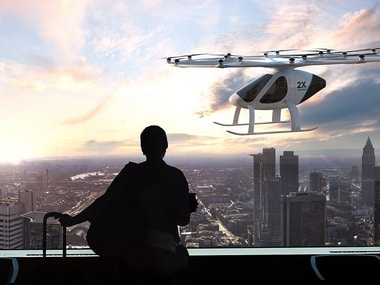 Air Taxi by Intel's Volocopter takes flight for the first time in the United States at CES 2018