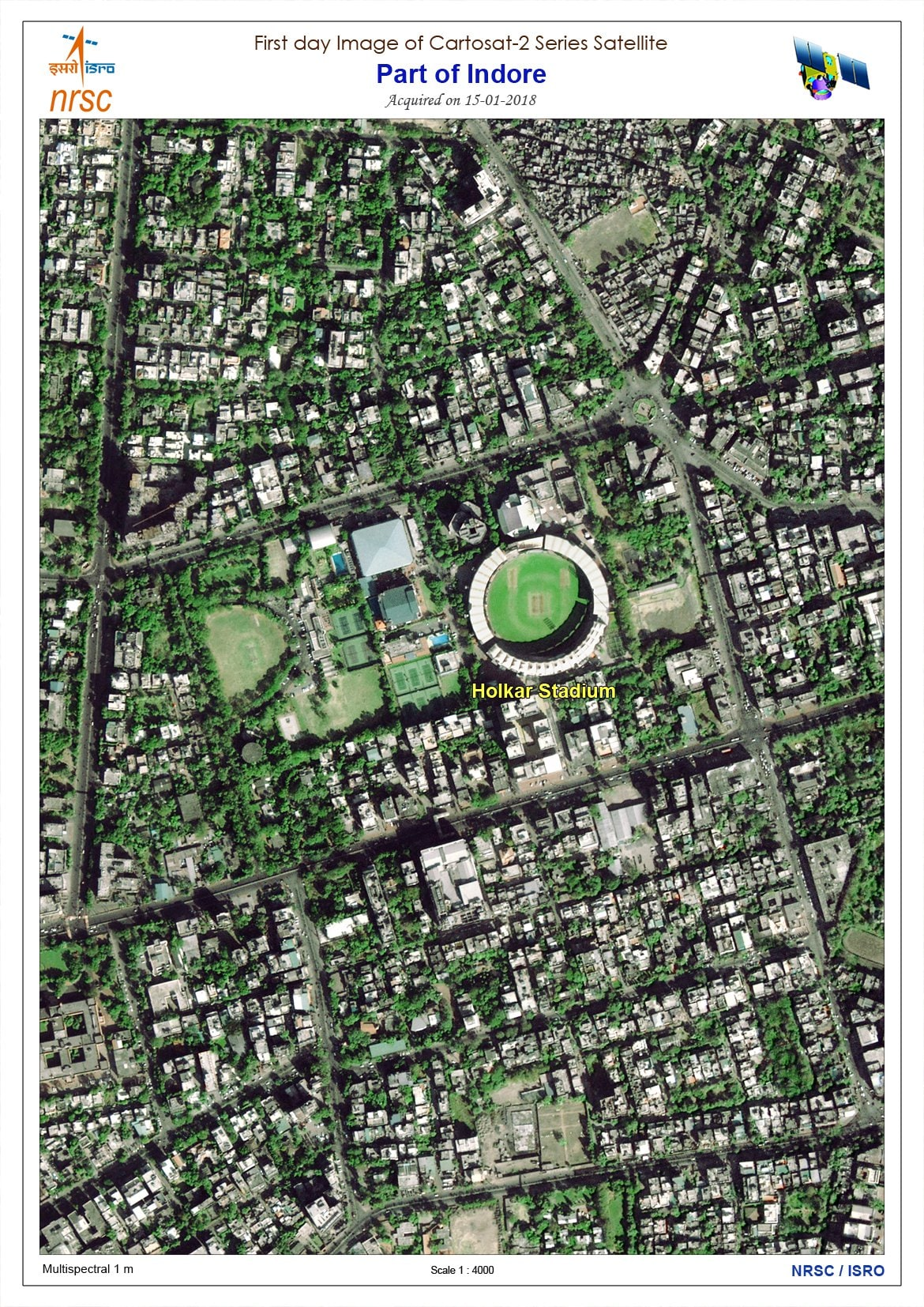 Cartosat-2 satellite first image sent from space. ISRO