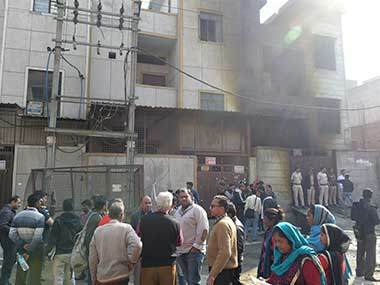 The fire-crackers factory where 17 persons died in a massive blaze at Bawana, in New Delhi. PTI