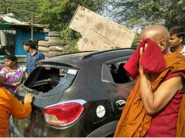 """Violence hit Maharashtra""""s Bhima Koregaon on Monday. Twitter @nishadwankhade"""