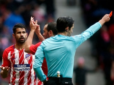 Atletico Madrid's Diego Costa was sent off after collecting his second yellow card of the match. AFP