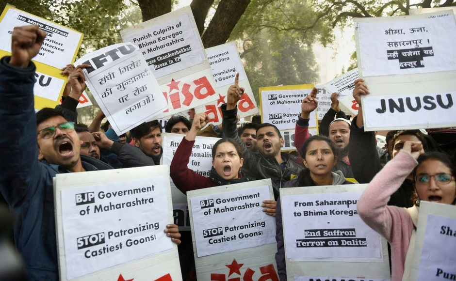 Security outside the Maharashtra Sadan in New Delhi was scaled up as protests continued in Maharashtra. Students belonging to All India Students Association (AISA) demanded judicial probe against those responsible for the Bhima-Koregaon violence. PTI