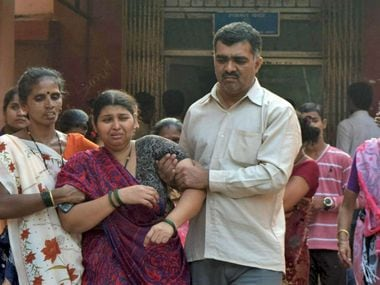 Grieving relatives of the deceased after the Dahanu boat capsize. PTI