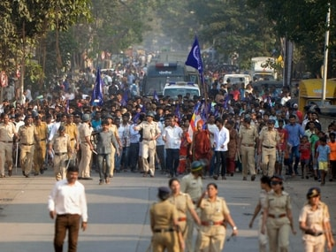 Thousands of Dalits activists protested in Mumbai on Wednesday. PTI