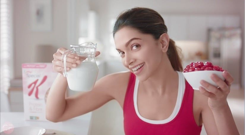 Deepika Padukone in an ad for the Kellogs Special K product. Youtube screengrab