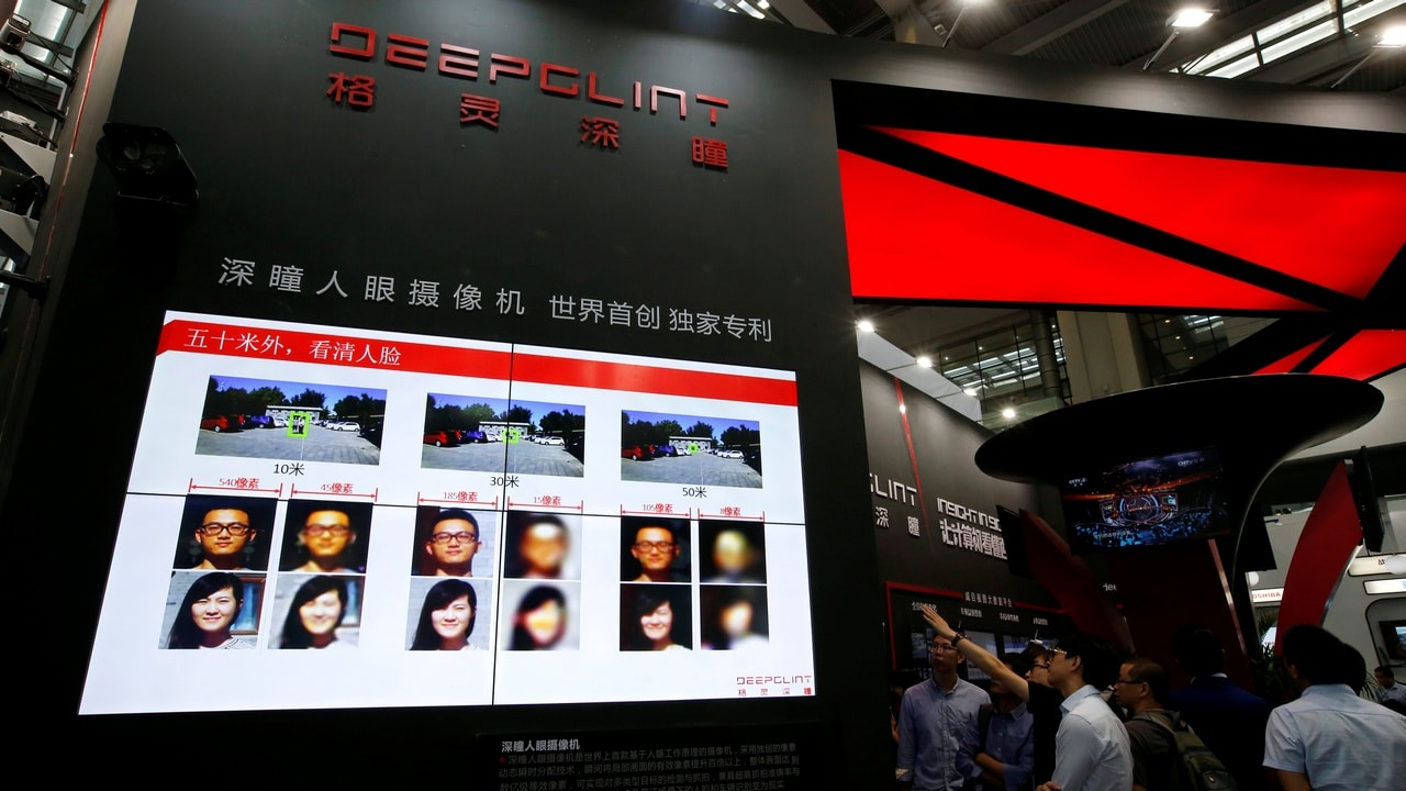 Facial recognition technology is shown at DeepGlint booth during the China Public Security Expo in Shenzhen, China October 30, 2017. Picture taken Octoberr 30, 2017. REUTERS/Bobby Yip - RC1E2E5D4080