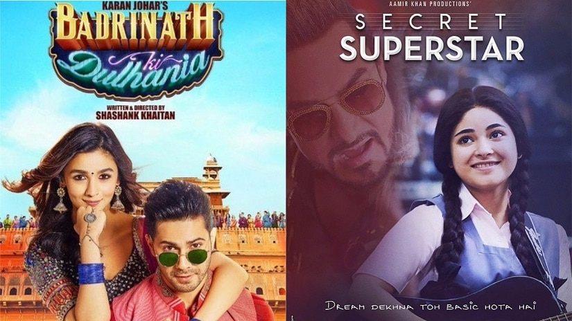Posters of Badrinath Ki Dulhani and Secret Superstar.