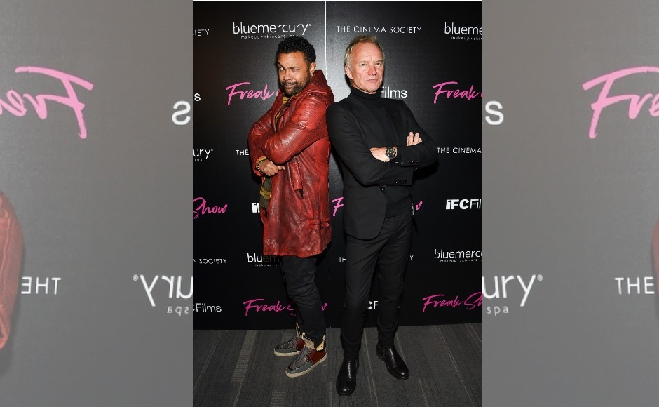 Singers Shaggy and Sting attended the New York premiere of Freak Show, looking their stylish best. Image from AP/Evan Agostini