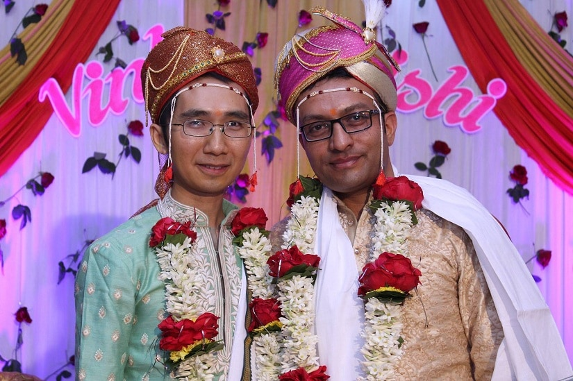 Vinh and Hrishi at their commitment ceremony in Yavatmal