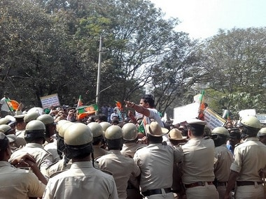 Protests over Mahadevi river water sharing. Naqshab Bhat/101Reporters