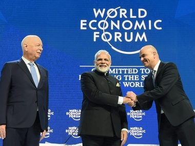 Davos: Prime Minister Narendra Modi with President of the Swiss Confederation, Alain Berset (R) and the Chairman of the World Economic Forum, Klaus Schwab, at the plenary session of the World Economic Forum, in Davos on Tuesday. PTI