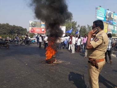 Protests at the Pune-Mumbai highway on Wednesday. Image/Team 101 reporters