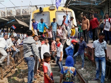 Dalit groups protesting at Thane railway station during the Maharashtra Bandh on Wednesday. PTI