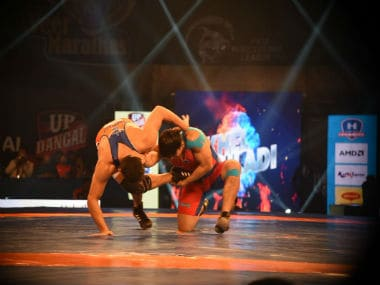 Pro Wrestling League action between Haryana Hammers and UP Dangal. Twitter/@Official_PWL