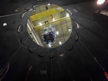 Parker Solar Probe is lowered into the 40-foot-tall thermal vacuum chamber. NASA