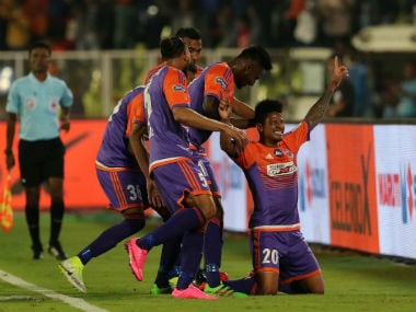 FC Pune City players celebrate in their match against ATK. Twitter/@FCPuneCity