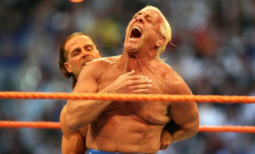 Ric Flair during his last WWE match against Shawn Michaels at WrestleMania XXIV/Image from Twitter.