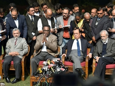 Supreme Court judge Jasti Chelameswar along with other judges addresses a press conference in New Delhi on Friday. PTI