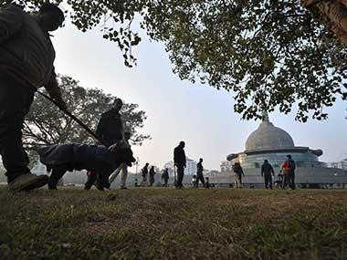 Security personnel at the Patliputra Karuna Stupa after two crude bombs were found on 19 January. PTI