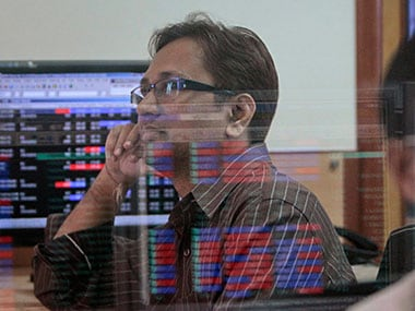 A file image of a stock broker at BSE. Reyters.